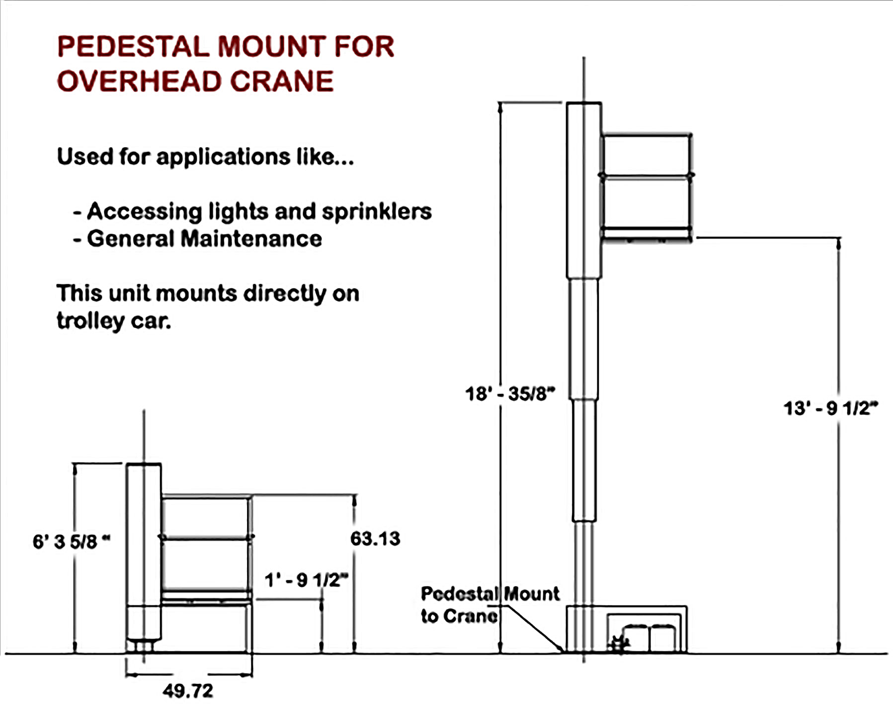Pedestal Mount For Overhead Crane